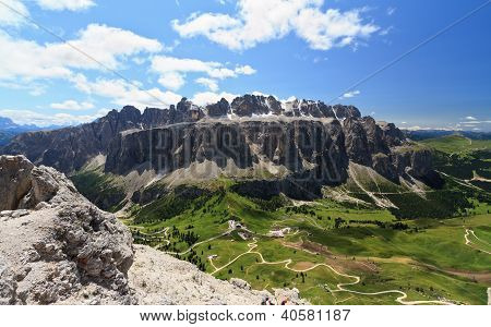 Passo Gardena And Sella Mountain