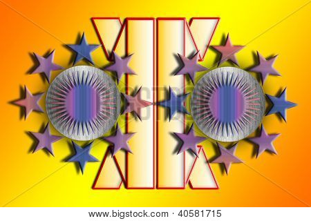 Color Abstract Composition With A Purple Stars And Yellow Background