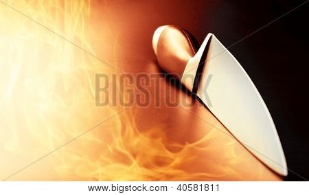 Closeup of professional knife on kitchen fire