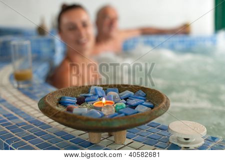 spa hydrotherapy couple waterfall swimming pool water