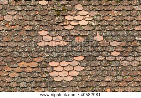 seamless red old roof tiles repaired  texture