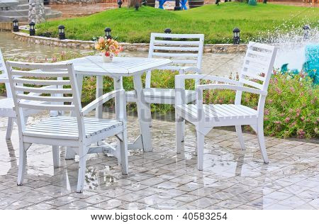 Tables, Chairs, White Outdoor Patio