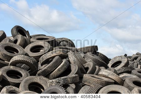 Old Tires And Blue Sky
