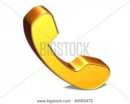 3D Telephone Handset Gold Sign