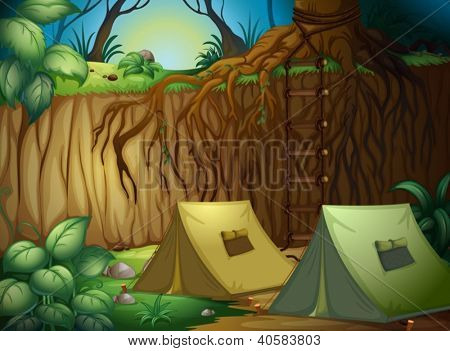 Illustration of camping in a beautiful forest