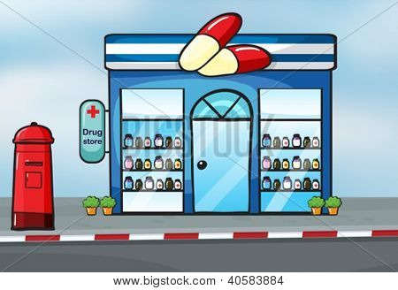 illustration of a drug store near a street