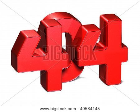 3D Error 404 On White Background