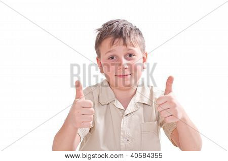 Portrait Of Teen Boy Showing Both Hands Perfectly