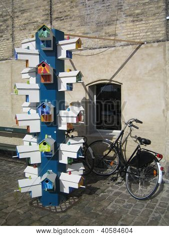 colorful bird nests and bike