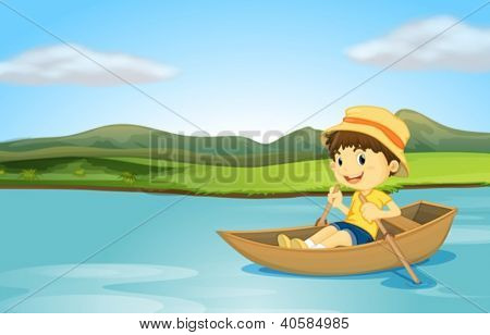 Illustration of a boy rowing a boat on a lake