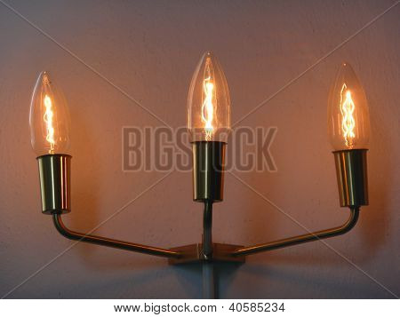 old lamp with three bulbs