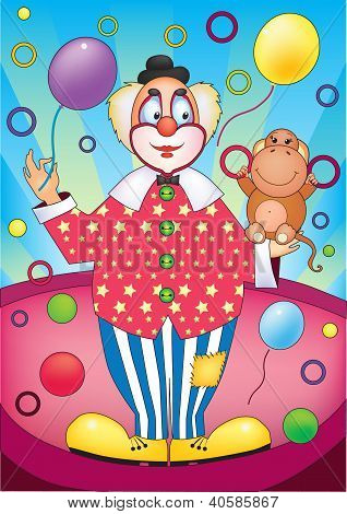 Clown With Monkey
