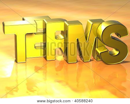 3D Word Terms On Yellow Background