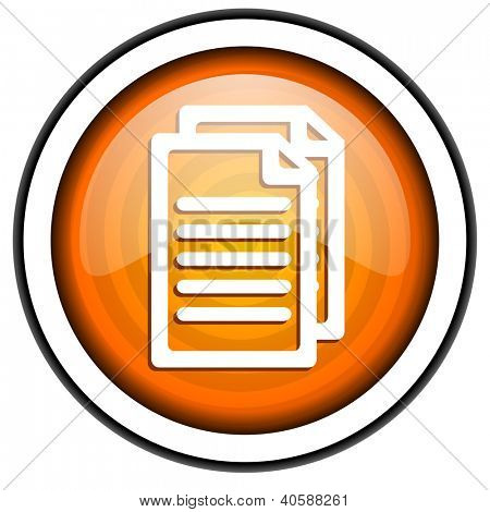 document orange glossy icon isolated on white background