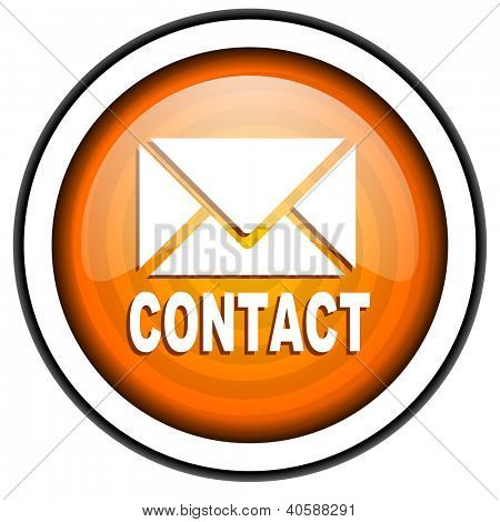 contact orange glossy icon isolated on white background