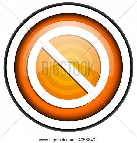 access denied orange glossy icon isolated on white background