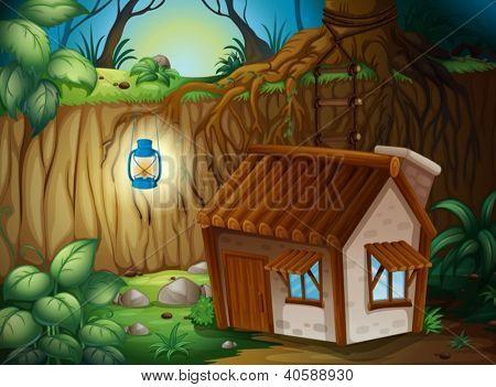 Illustration of a farm house in dark night