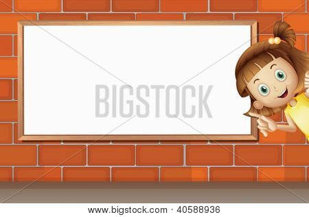 Illustration of a girl and a white board on a brick wall