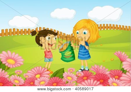 Illustration of girls eating cookies in nature