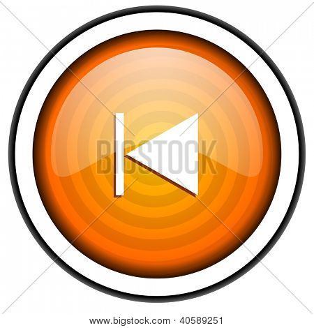prev orange glossy icon isolated on white background