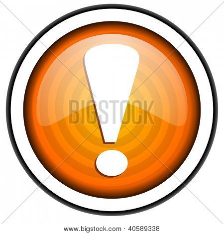 exclamation sign orange glossy icon isolated on white background