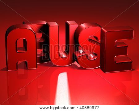 3D Word Abuse On Red Background