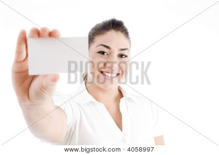 Young Attractive Female Showing Business Card