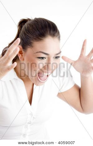 Young Attractive Woman Shouting