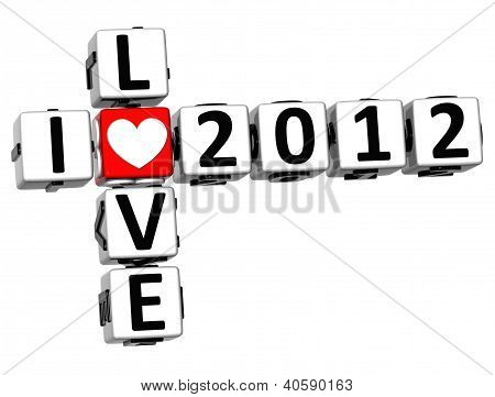 3D I Love 2012 Crossword