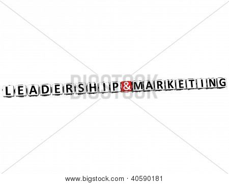 3D Leadership And Marketing Button Click Here Block Text