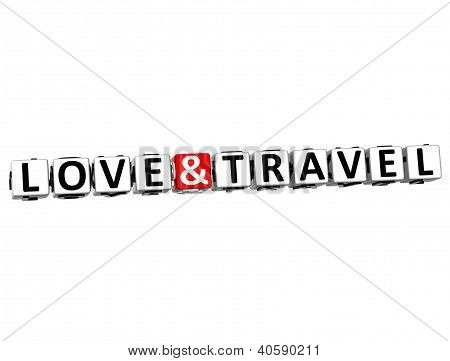 3D Love And Travel Button Click Here Block Text