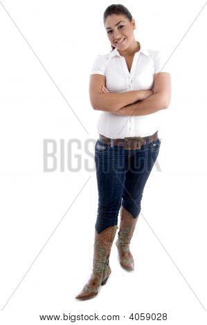 Full Body Pose Of Young Attractive Model