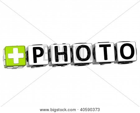 3D Add Photo Button Click Here Block Text