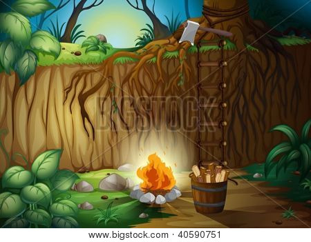 Illustration of a bonfire in the jungle
