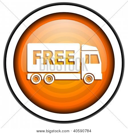 free delivery orange glossy icon isolated on white background