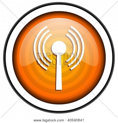 wifi orange glossy icon isolated on white background