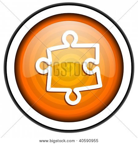 puzzle orange glossy icon isolated on white background