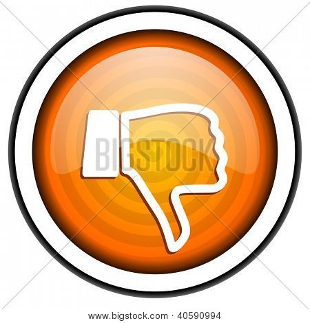 thumb down orange glossy icon isolated on white background