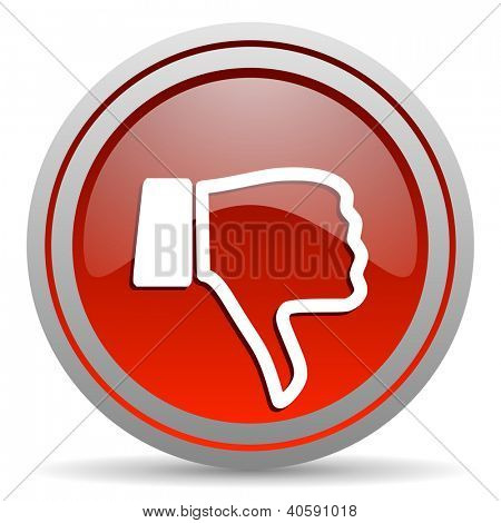 thumb down red glossy icon on white background