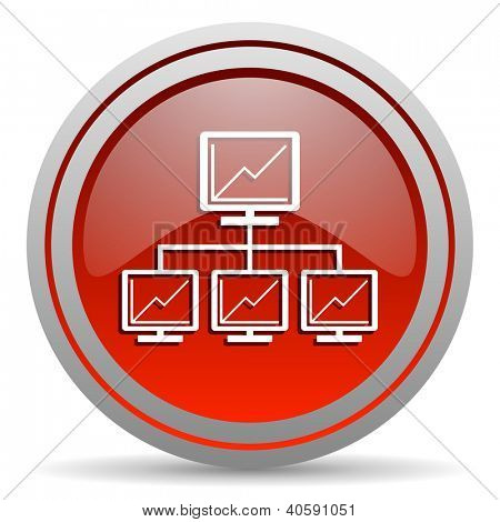 network red glossy icon on white background