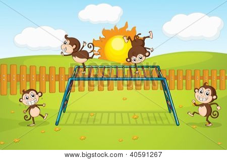 Illustration of monkeys playing on monkey-bar