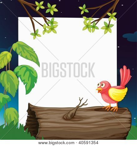 Illustration of a bird and a white board in a beautiful nature