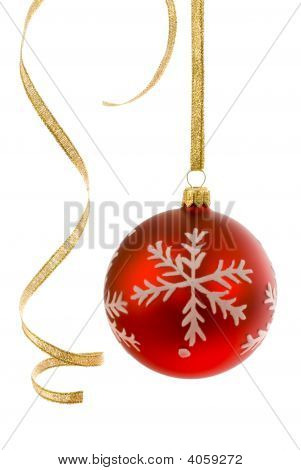 Red Bauble And Curly Ribbon