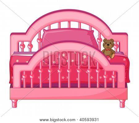 Abbildung eines Bettes eines Kindes auf weißem Hintergrund