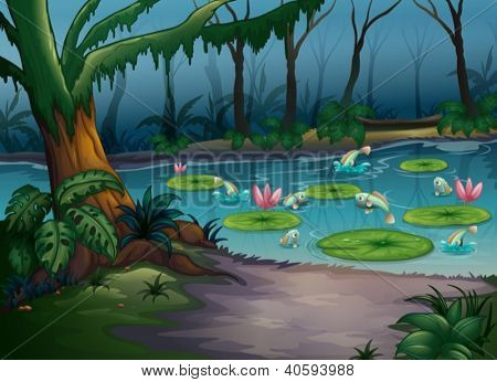 Illustration of fishes in the jungle