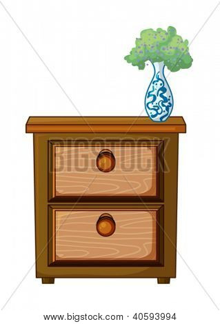 illustration of a table and a flower pot on a white background