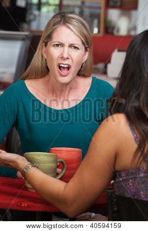 Outraged Lady In Cafe