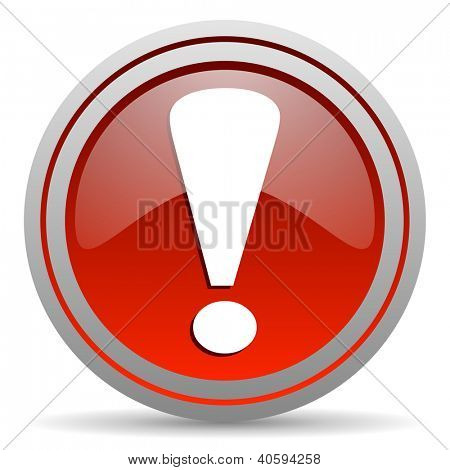 exclamation sign red glossy icon on white background