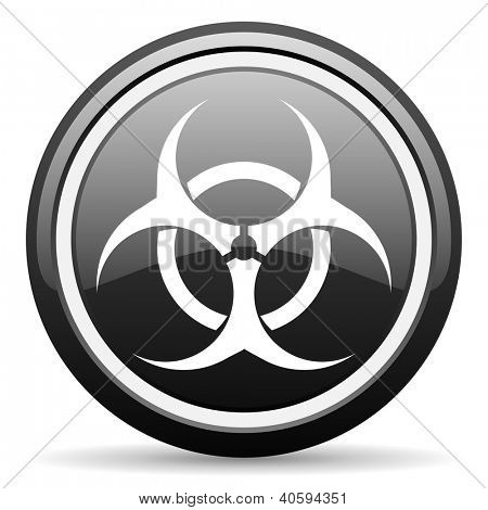 virus black glossy icon on white background