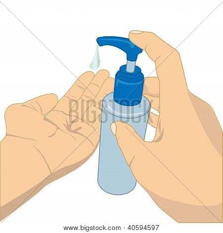 pumping lotion from bottle vector